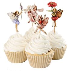 24 Pieces Flower Fairy Cupcake Toppers Picks for by BellasNotions