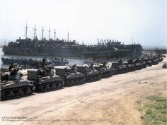 Great colorised pics - US 1st Tank Battalion  M4 Sherman tanks being loaded onto LSTs for Operation Husky, Pecherie, Bizerte, Tunisia, 7 Jul 1943.