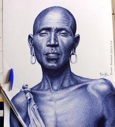 blue-pen-portraits Artist Enam Bosokah from Ghana, uses a blue ballpoint pen to create impressive portraits and drawings