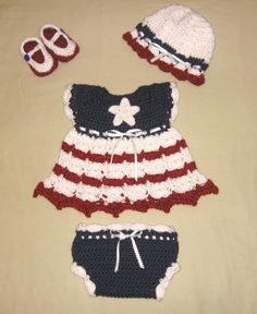 Diaper Dress Set Baby Girl with Dress, Hat, Booties and Diaper Cover July 4th Baby Set. $26.00, via Etsy.