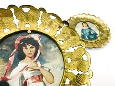 Vintage Butterfly Framed Prints of Children, Brass Tin Butterfly Frames, Made in England, circa 1960s