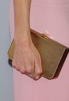 Ferragamo stingray and gold metal clutch