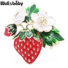 Wuli baby Trendy Red Strawberry Enamel Brooches For Men Women  s Classic  Fruits Weddings 361bc2a42c41