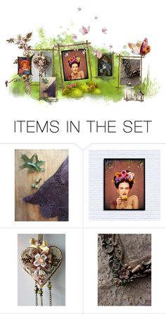 """Art in the Garden"" by thresholdpaperart ❤ liked on Polyvore featuring art and nature"