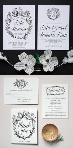 Printable Press Laurel Crest wedding invitations