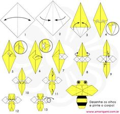 DIY Honey Bee Origami Via Amorigamibr