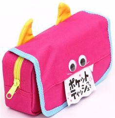 pouch by Q-Lia with monster face with googly eyes & tissue case dispenser