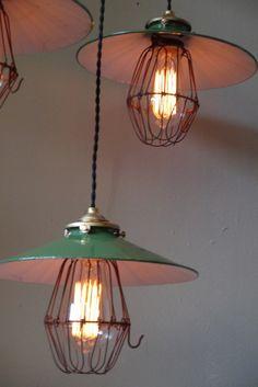 abat jour opaline lampe industrielle americaine 3 feux