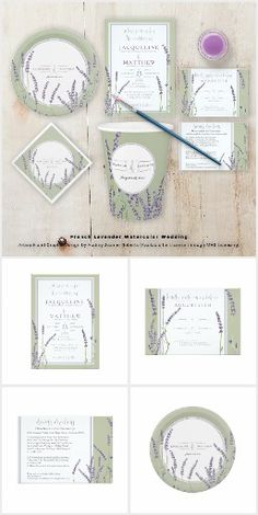 French Lavender Watercolor Wedding A simple, classic, stylish floral design using hand painted watercolor French lavender sprigs of flowers. Set in a clean lined, double border frame with modern script calligraphy font text (yes, we can customize the handwriting parts for you, just message us). A complete Wedding invitation and bridal shower party decor set is available and we're happy to create anything else you might need. Copyright Audrey Jeanne Roberts, all rights reserved.