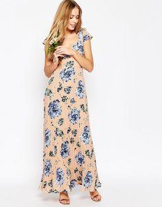 ASOS+WEDDING+Lace+Back+Pleated+Maxi+Print+Dress