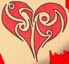 #Heart #Tribal #HiddenLetter #Drawing #Color