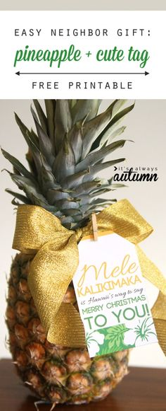 Love this idea! Give a pineapple as a neighbor gift for Christmas. Super easy gift idea with a free printable tag.