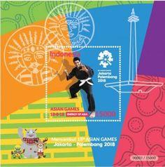 Stamp: 2018 Asian Games, Bandung & Jakarta Indonesia (Indonesia) Col:ID Jakarta City, Indonesian Art, Asian Games, Palembang, Timor Leste, Southeast Asia, Laos, Philippines, Singapore