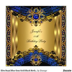 Elite Royal Blue Gem Gold Black Birthday Party 5.25x5.25 Square Paper Invitation Card