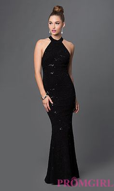 Floral Sequin High Neck Long Prom Dress at PromGirl.com