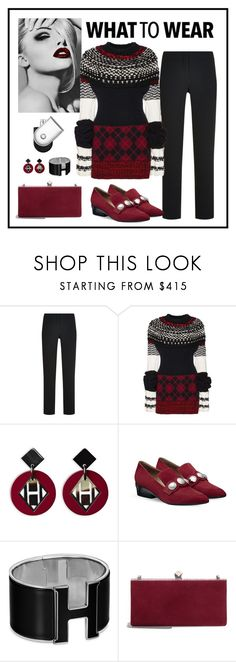 """""""Burberry Chunky Argyle Cashmere Sweater Look"""" by romaboots-1 ❤ liked on Polyvore featuring Burberry, Jimmy Choo and Hermès"""