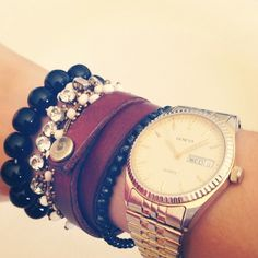 I love leather bracelets! This stack is so masculine, it would look great with a frilly outfit!