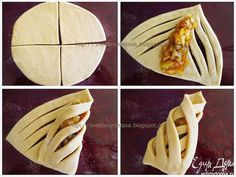 Cool way to wrap pastries Pastry Recipes, Dessert Recipes, Cooking Recipes, Pastry Design, Bread Art, Bread Shaping, Tasty, Yummy Food, Bread And Pastries