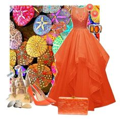 """""""Orange Sherbet"""" by sherrysrosecottage-1 ❤ liked on Polyvore featuring Elie Saab, Jimmy Choo, Edie Parker, Kim Rogers, Kate Spade, eveningdress, fashionset and eveninggown"""