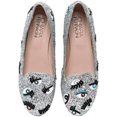 Chiara Ferragni Women 10mm Eyes Glitter Loafers ($160) ❤ liked on Polyvore featuring shoes, loafers, flats, silver, loafer flats, flats loafers, metallic shoes, glitter flat shoes and glitter flats