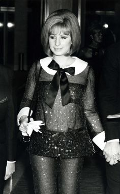 1969 Barbra Streisand turned heads when she wore sequined, transparent Arnold Scaasi pants to accept her Academy Award for Funny Girl.