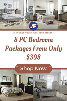 We've got the best bedroom decor ideas for less! Sleep better knowing you got on-trend bedroom style without breaking the bank. Check out our selection of 8 piece bedroom sets from only $198. Discount Bedroom Furniture, Bedroom Furniture Sets, Bedroom Sets, Bedroom Decor, American Freight Furniture, Bank Check, Furniture Packages, Queen Bedroom, Sleep Better