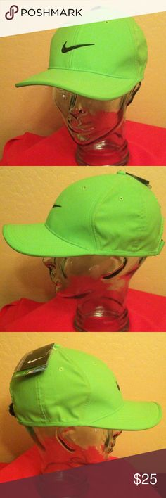 Nike Golf Adult Cap--20% OFF with Nike Pouch! Authentic Nike Golf Adult Unisex Cap. Neon Green with Black Faux Leather Swoosh on the Front Center. Embroidered Grey Swoosh on the Back Center. Adjustable Velcro Back with a Tab. Air Vents. Dri-Fit. 100% Polyester. Brand New. Excellent Condition. No Trades. See other Nike Golf Caps in my Closet. Nike Accessories Hats