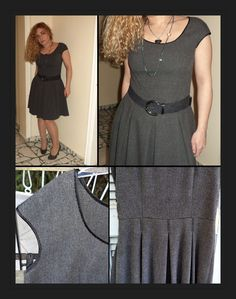 Grey dress with cap sleeves and pleated skirt