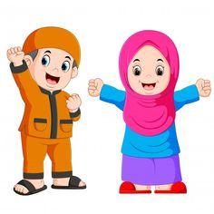 Happy moslem kid cartoon isolated on white background Premium Vector Teacher Cartoon, Cartoon Kids, Kids Background, Vector Background, Certificate Design Template, Islamic Cartoon, Islam For Kids, Emoji Images, Anime Muslim