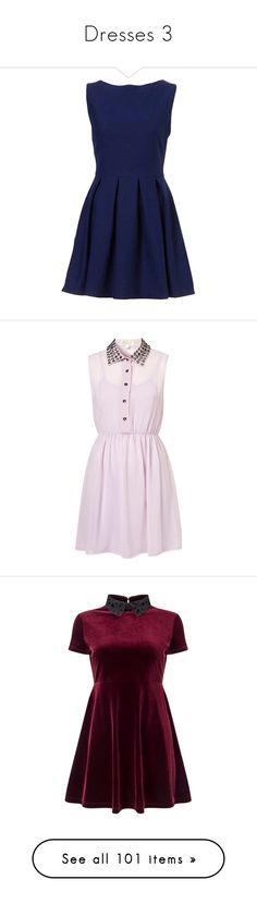 """Dresses 3"" by fluffyunicorn124 ❤ liked on Polyvore featuring dresses, vestidos, short dresses, robes, navy, blue dress, navy skater dress, wool dress, sleeveless dress and pink dress"