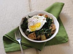 Braised Kale with Roasted Potatoes and Poached Eggs | Potato Recipe