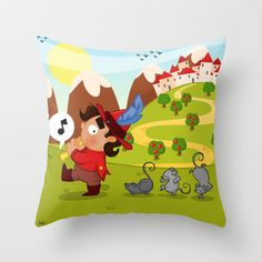 The Pied Piper of Hamelin  Throw Pillow by Alapapaju - $20.00
