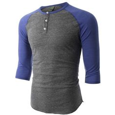 LE3NO PREMIUM Mens Slim Fit Raglan 3/4 Sleeve Baseball Button Henley... ❤ liked on Polyvore featuring men's fashion, men's clothing, men's shirts, men's casual shirts and men wear
