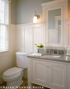 A powder room is just a rather more fancy way of referring to a bathroom or toilet room. Just like in the case of a regular bathroom, the powder room may present different challenges related to its interior design and… Continue Reading → Wainscoting Bathroom, Bathroom Renos, Wainscoting Ideas, Bathroom Ideas, Bath Ideas, Black Wainscoting, Wainscoting Stairs, Painted Wainscoting, Simple Bathroom