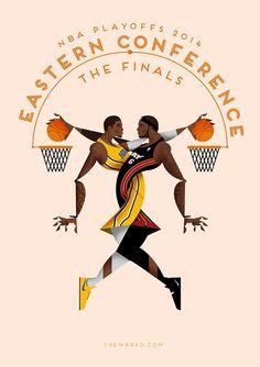 2014 NBA Playoffs  Eastern Conference Finals  Art Acuarela b2f56540574