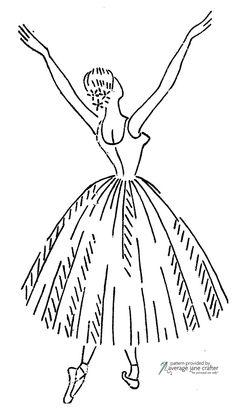 Vintage Ballerina Embroidery Transfer