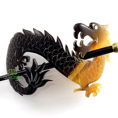 Exquisite DRAGON Organic Horn Hair Barrette Handmade by quecraft, $7.80