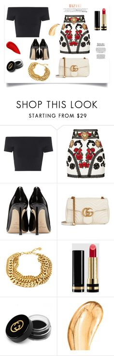 """""""Date Night- Off the Shoulder Trend"""" by styledbysha ❤ liked on Polyvore featuring Helmut Lang, Dolce&Gabbana, Jimmy Choo, Gucci, Tom Ford and Lipstick Queen"""