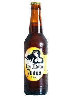 """LA LOCA JUANA Cerveza de fermentación baja al estilo """"European Pale Lager"""", elaborada según la receta de los maestros cerveceros tradicionales. Ingredientes: Agua, levadura, malta de cebada y lúpulo. http://www.cervezajuanalaloca.es/"""