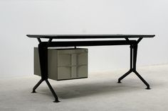 my absolute dream desk, olivetti, arco series, designed by studio BBPR, 1963 (Writing desk, Studio BBPR, formed by the initials of four Italian architects-designers. Gian Luigi Banfi (1910-1945). Ludovico Belgioso (1909), Enrico Peressuti (1908-1976) and Ernesto Nathan Rogers (1909-1968). Period of manufacturing 1963, Olivetti)
