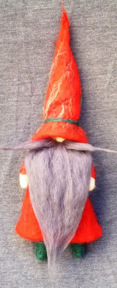 Needle felted Holiday Gnome Elf Tomte of natural by artedellalana, $40.00