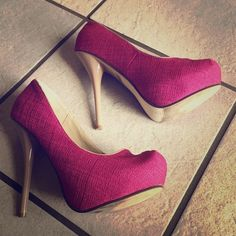 Fuchsia-and-nude platform heels These heels give plenty of extra height for those of us who lack it! Very cute and very comfortable. Styluxe Shoes Heels