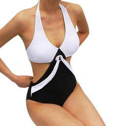 a20761faaad Women's Swimwear One Piece Swimsuit Push Up Bikini Patchwork Bathing Suit M