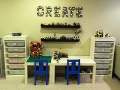 Lego station kids stuff lego room, lego bedroom и lego stati Lego Station, Home Daycare, Daycare Ideas, Playroom Rules, Playroom Ideas, Study Room Design, Lego Bedroom, Kids Room Organization, Lego Storage