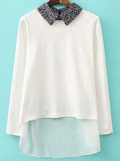 Floral Lapel Dipped Hem Chiffon White T-Shirt 15.50