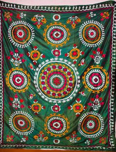 Honest Hand Embroidered Wall Hanging Uzbek Silk Suzani Vintage Old Embroidery Embroidery