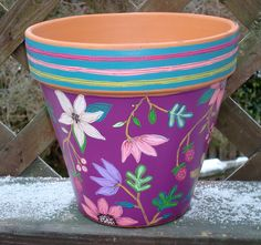 """Hand Painted Flower Pot 8 Inch- """"Berry Fine Floral""""- Ready to Ship. $34.00, via Etsy."""