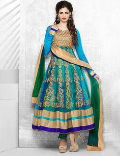 Net green blue unstitch wedding wear anarkali designer salwar kameez Product Code: G3-WSS4553 Price: ₹ 15,295.00