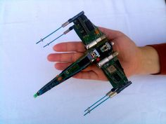 X-Wing Fighter from recycled computer parts