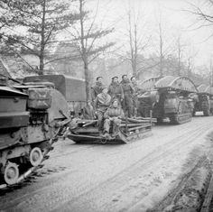 The British Army in North-west Europe Churchill bridgelayers of Tank Brigade, one towing a sledge, at the start of Operation 'Veritable' 8 February Ww2 Pictures, Ww2 Photos, Military Pictures, D Day Normandy, British Army, British Tanks, Royal Engineers, Ww2 Tanks, Army & Navy